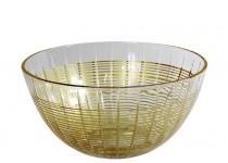 Facett skål guld 235 mm