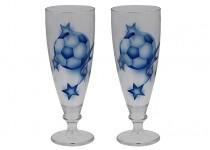 Ölglas Fotboll blå  38 cl 2 st