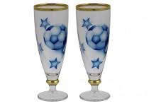 Ölglas Fotboll blå med guldkant 38 cl 2 st