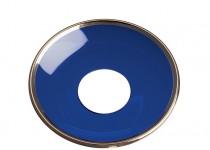 Ljusmanschett  koboltblå med guldkant, 65mm. 4st